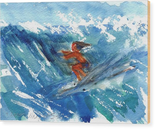 Surfing I Wood Print by Ramona Wright