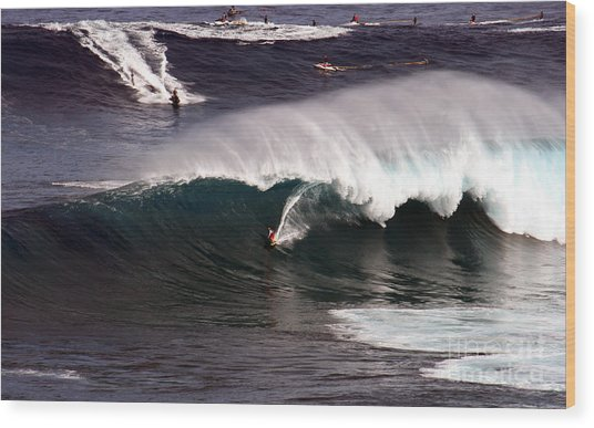 Surfing Jaws Maui  Wood Print by Paul Karanik