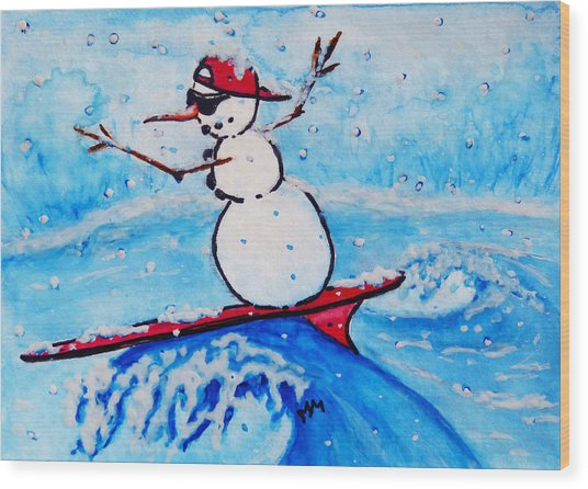 Surfing Snowman Wood Print