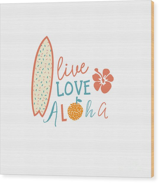 Surfing Summer Emblem With Text Quote Wood Print