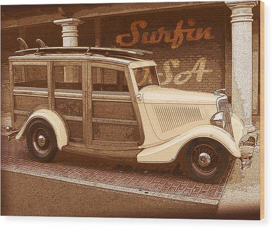 Surfing Usa Woodie Wood Print