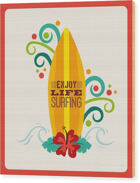 Surfing Zone Graphic Design , Vector Wood Print
