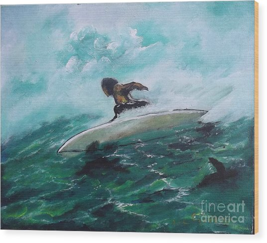 Surfs Up Wood Print by Donna Chaasadah