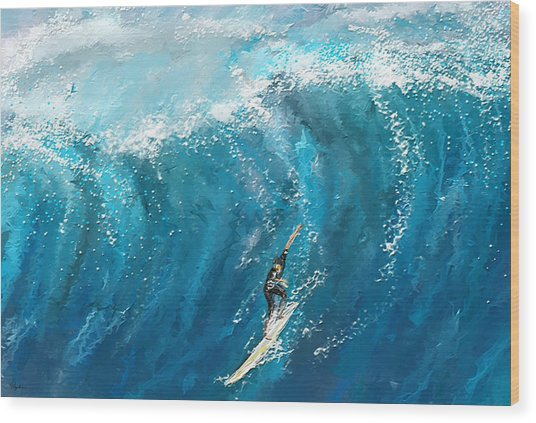 Surf's Up- Surfing Art Wood Print