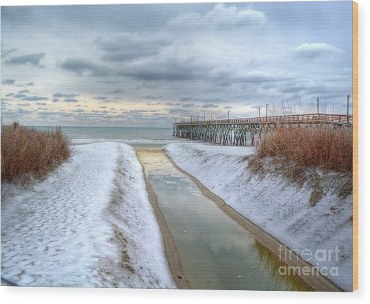 Surfside Beach Pier Ice Storm Wood Print