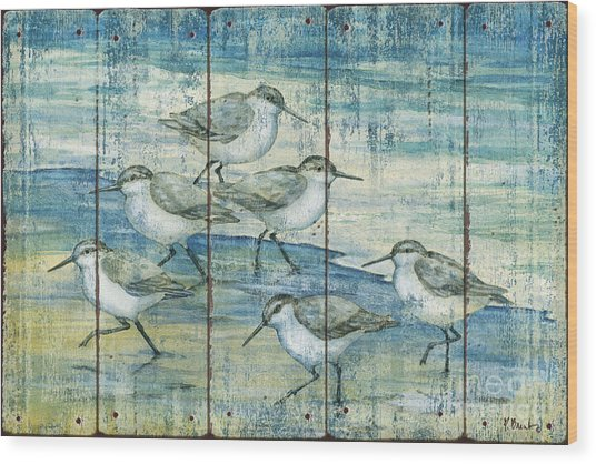 Surfside Sandpipers - Distressed Wood Print