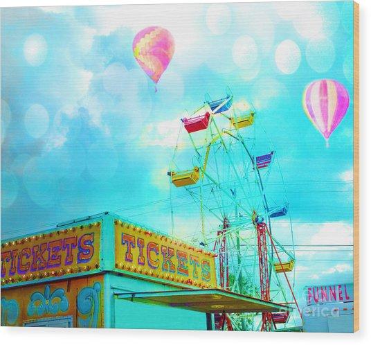 Surreal Aqua Teal Carnival Tickets Booth With Ferris Wheel And Hot Air Balloons - Carnival Fair Art Wood Print