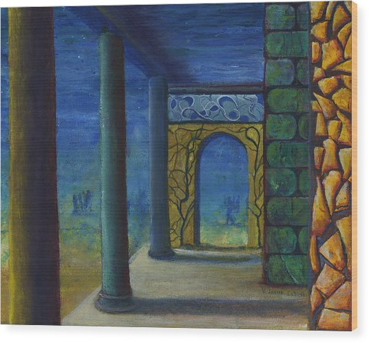 Surreal Art With Walls And Columns Wood Print