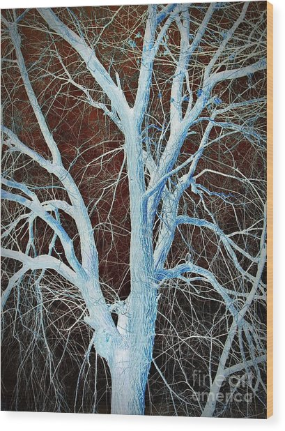 Surreal Blue Tree Wood Print
