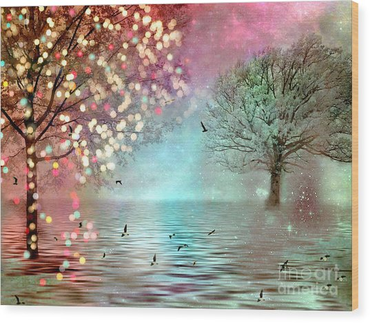 Nature Fantasy Trees Surreal Dreamy Twinkling Fantasy Sparkling Nature Trees Wood Print