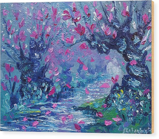 Surreal Landscape Art Pink Flower Tree Painting By Ekaterina Chernova Wood Print