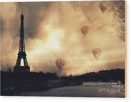 Paris Eiffel Tower Storm Clouds Sunset Sepia Hot Air Balloons Wood Print