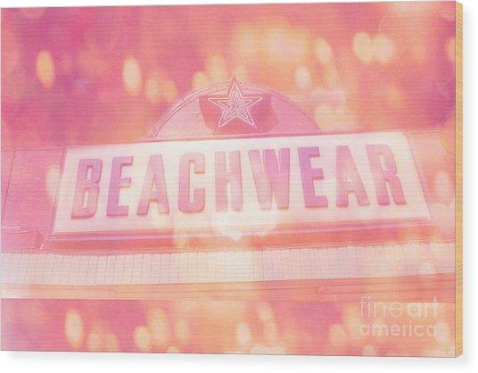 Surreal Summer Beachwear Sign - Mrytle Beach South Carolina Wood Print