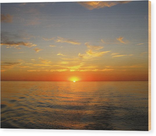 Surreal Sunrise At Sea Wood Print