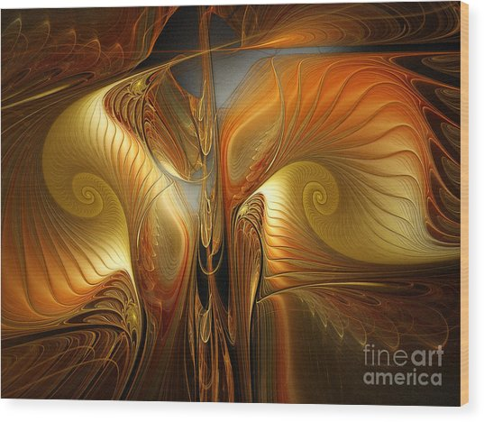Surrealistic Landscape-fractal Design Wood Print