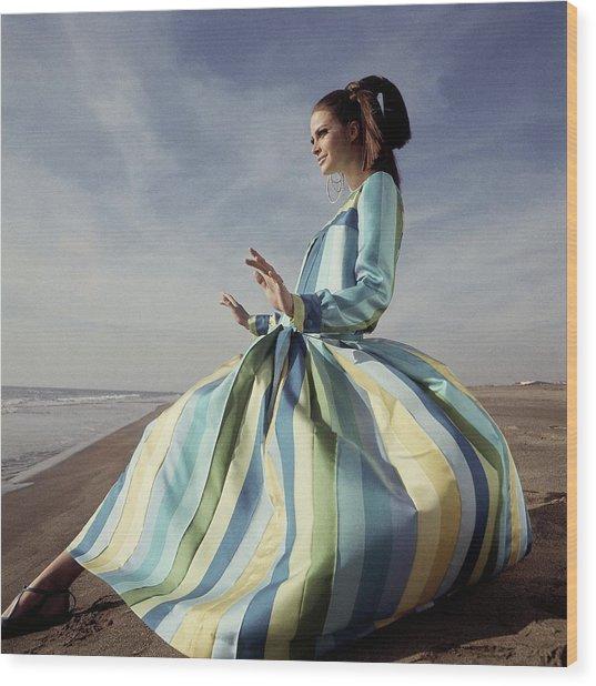 Editha Dussler Posing On A Beach Wood Print