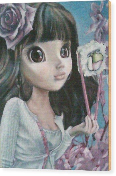 Sushi Girl Wood Print