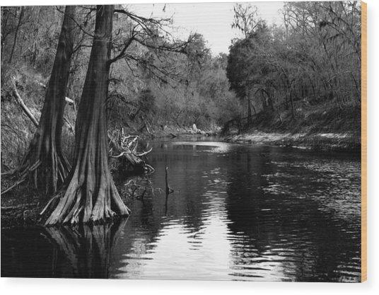 Suwannee River Black And White Wood Print