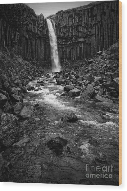 Svartifoss Waterfall In Black And White Wood Print
