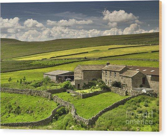 Swaledale Farm Wood Print