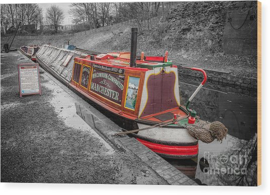 Swallow Canal Boat Wood Print