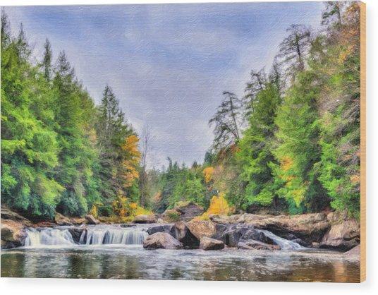 Swallow Falls Oil Painting Wood Print