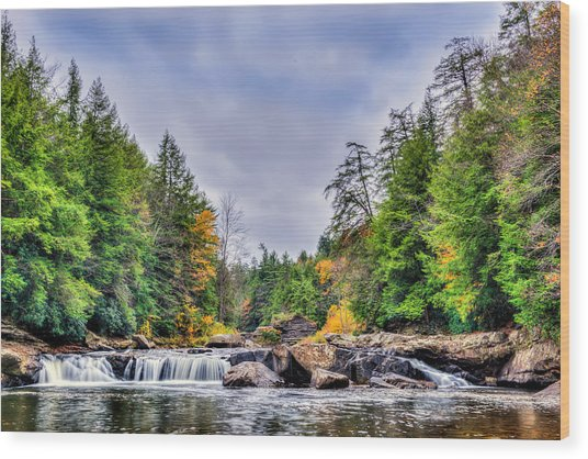 Swallow Falls Waterfall In Appalachian Mountains In Autumn Wood Print