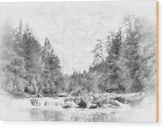Swallow Falls Waterfall Pencil Sketch Wood Print
