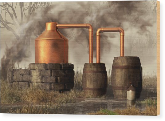 Swamp Moonshine Still Wood Print