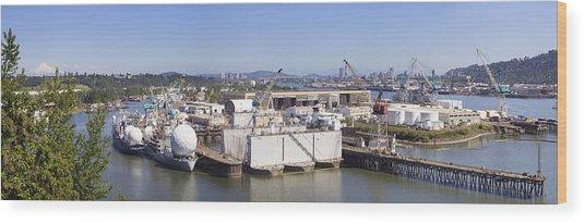 Swan Island Shipyard Panorama Wood Print