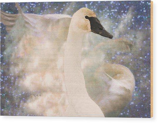 Swan Journey Wood Print
