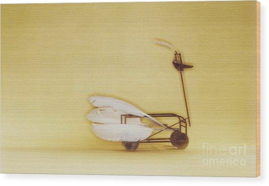 Swan On Wheels Wood Print