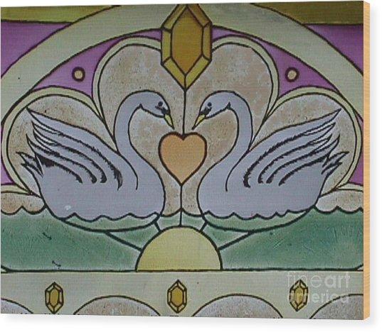 Swan Window Wood Print