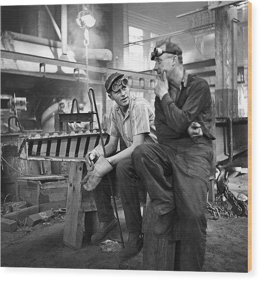 Swedish Foundry Workers Wood Print by David Murphy