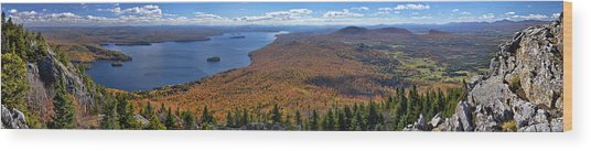 Sweeping Fall Panorama Over Lake Memphremagog Wood Print
