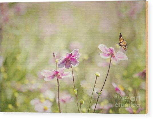 Sweet Butterfly Garden Wood Print