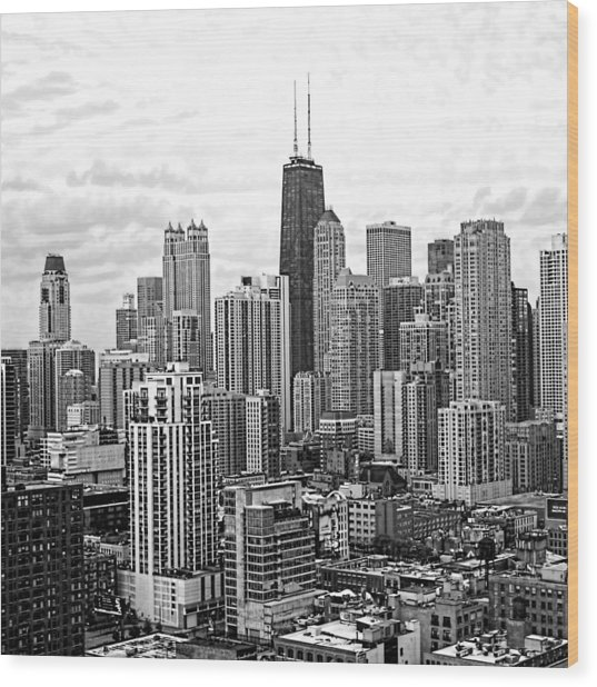 Sweet Home Chicago Bw Wood Print
