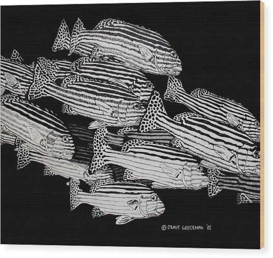 Sweet Lip School Wood Print by Denis Gloudeman