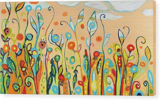Sweet Peas And Poppies Wood Print