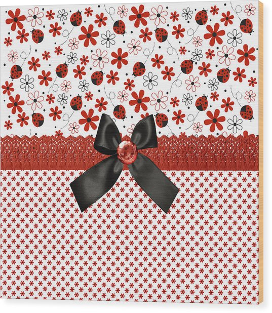 Sweet Red Ladybugs  Wood Print