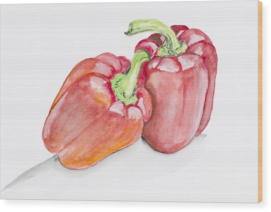 Sweet Red  Paprika Pepper Wood Print by Irina Gromovaja