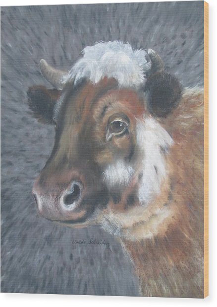 Sweet Shirley The Cow Wood Print by Claude Schneider