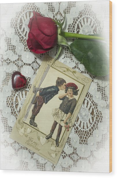 Sweet Valentine Couple Wood Print