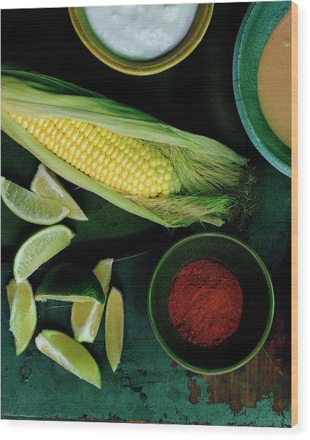 Sweetcorn And Limes Wood Print