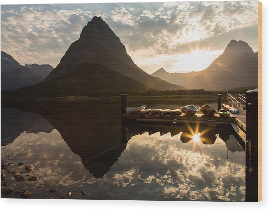 Swiftcurrent Lake Boats Reflection And Flare Wood Print