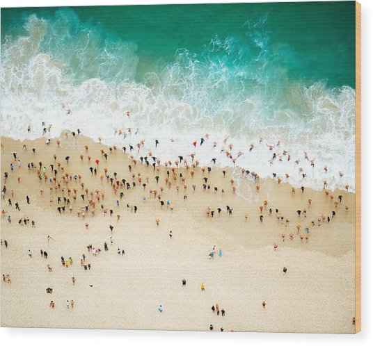 Swimmers Entering The Ocean Wood Print by Tommy Clarke