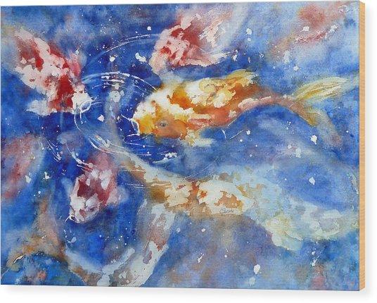 Swimming Koi Fish Wood Print