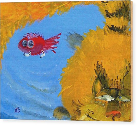 Swimming Of A Yellow Cat Wood Print