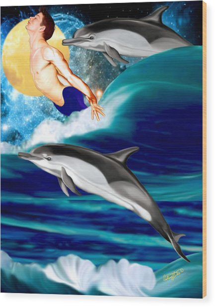 Swimming With Dolphins Wood Print