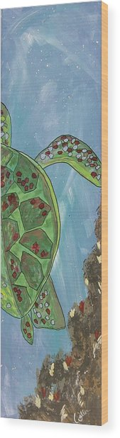 Swimming With The Turtles Wood Print by Marcia Weller-Wenbert